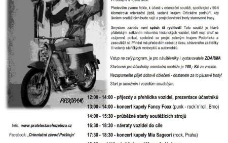 POTŠTEJN – Zvuk motorů historických motocyklů a aut bude burácet v sobotu Potštejnem. Klub Přátel starého železa tu pořádá orientační závod těchto veteránů. Zajímavou podívanou doplní doprovodný hudební program.