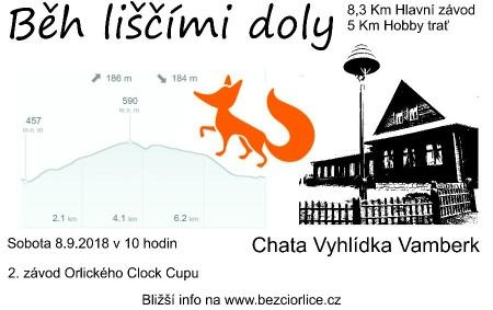 """VAMBERK - Zveme všechny příznivce závodního i rekreačního běhání na sobotu 8. září 2018 na Chatu Vyhlídka, kde se uskuteční 1. ročník Běhu Liščími doly. Pro běžce je připravena trať<a class=""""moretag"""" href=""""http://www.orlickytydenik.cz/beh-liscimi-doly-tuto-sobotu/"""">...celý článek</a>"""