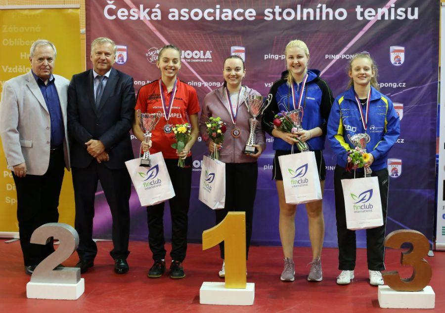 Medailistky v kategorii juniorek U21. Zdena Blašková čtvrtá zleva.